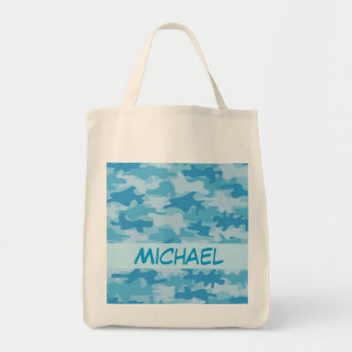 Blue Camo Camouflage Name Personalized Grocery Tote Bag