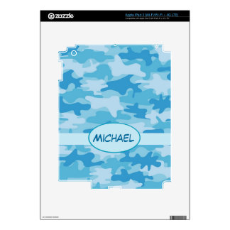 Blue Camo Camouflage Name Personalized iPad 3 Decals