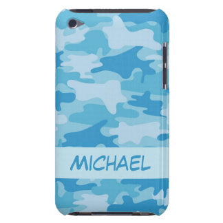 Blue Camo Camouflage Name Personalized iPod Case-Mate Case