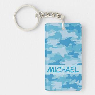 Blue Camo Camouflage Name Personalized Double-Sided Rectangular Acrylic Keychain