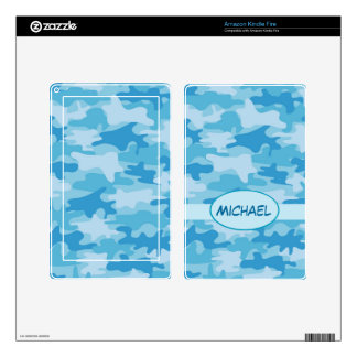 Blue Camo Camouflage Name Personalized Kindle Fire Skins