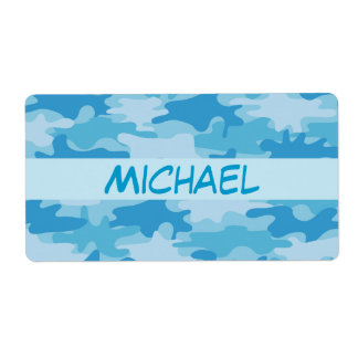Blue Camo Camouflage Name Personalized Shipping Labels