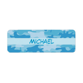 Blue Camo Camouflage Name Personalized Return Address Labels