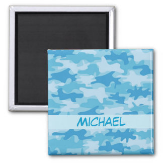 Blue Camo Camouflage Name Personalized Refrigerator Magnet
