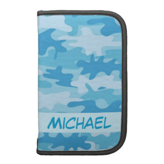Blue Camo Camouflage Name Personalized Folio Planner