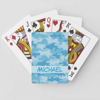 Blue Camo Camouflage Name Personalized Poker Playing Cards
