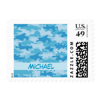 Blue Camo Camouflage Name Personalized Postage
