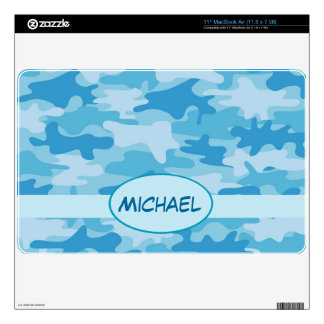 Blue Camo Camouflage Name Personalized Skin For MacBook