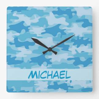 Blue Camo Camouflage Name Personalized Square Wall Clock