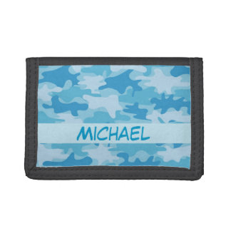 Blue Camo Camouflage Name Personalized Trifold Wallets