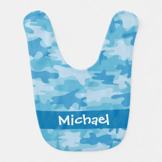 Blue Camo Camouflage Name Personalized Baby Bibs