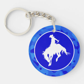 Blue Camo; Camouflage Rodeo Double-Sided Round Acrylic Keychain