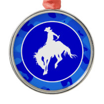 Blue Camo; Camouflage Rodeo Metal Ornament