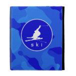 Blue Camo; Camouflage Snow Skiing iPad Folio Covers
