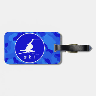 Blue Camo; Camouflage Snow Skiing Tag For Luggage