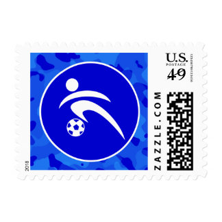 Blue Camo; Camouflage Soccer Postage Stamps