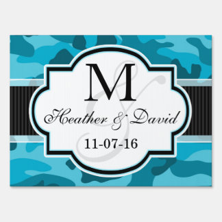 Blue Camo, Camouflage Wedding Signs