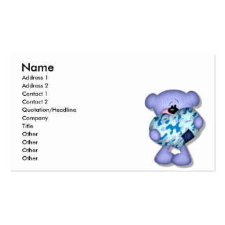blue camo heart bear business card