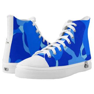 Blue Camo Hi-Top Tennis Shoes