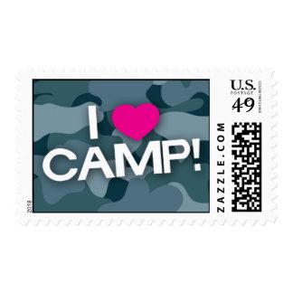 Blue Camo I LOVE CAMP! Stamps