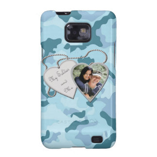 Blue Camo My Soldier & Me Hearts Custom Photo Sams Galaxy SII Cases