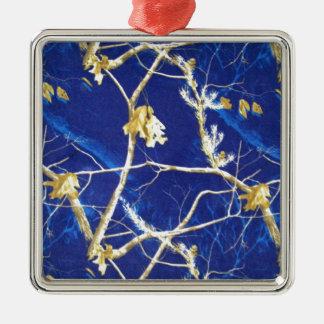 Blue Camo Square Metal Christmas Ornament