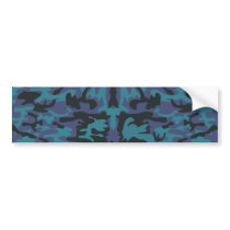 Blue camo pattern bumper sticker