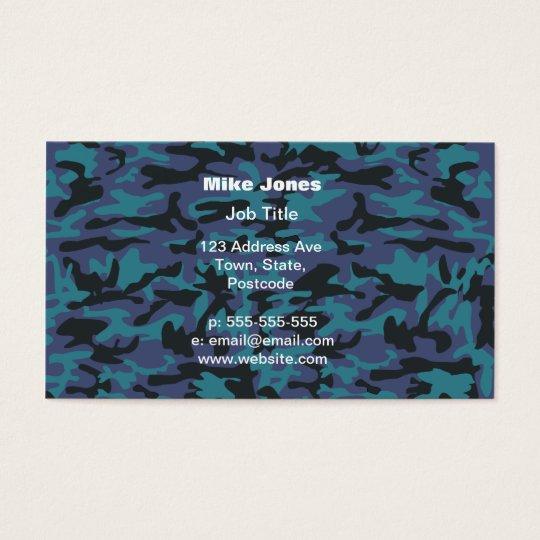Blue camo pattern business card