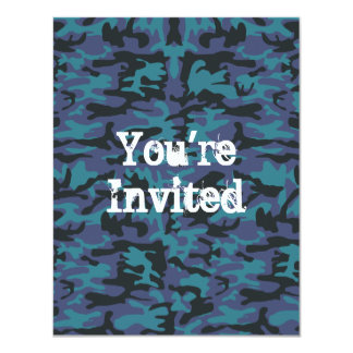 Blue camo pattern card