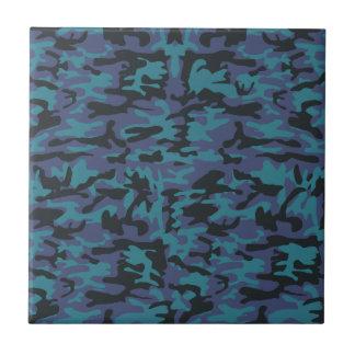 Blue camo pattern ceramic tile
