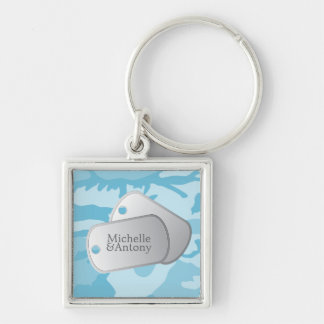 Blue Camo Pattern Customizable Photo & Dog Tags Keychain