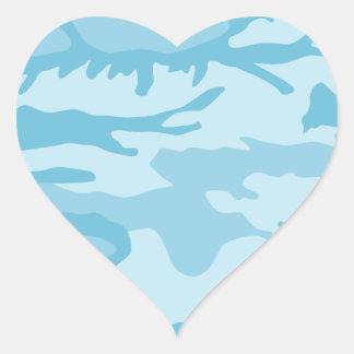 Blue Camo Pattern Heart Sticker