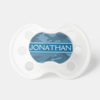 Blue Camo Pattern with Name - Baby Boy Pacifier
