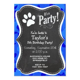 Blue Camo; Paw Print 5x7 Paper Invitation Card