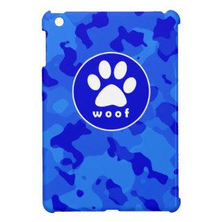 Blue Camo; Paw Print iPad Mini Case