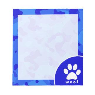 Blue Camo; Paw Print Notepad