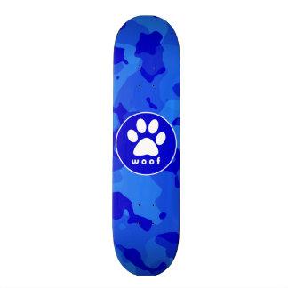 Blue Camo; Paw Print Skateboard