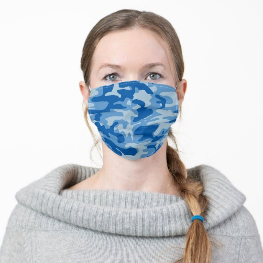 Blue Camo Print Camouflage pattern Face Mask