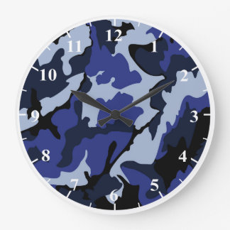 Blue Camo Round Large Wall Clock