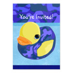 "Blue Camo Rubber Ducky 5"" X 7"" Invitation Card"