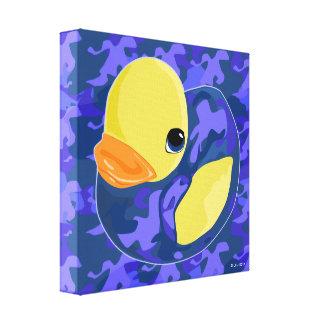 Blue Camo Rubber Ducky Canvas Print