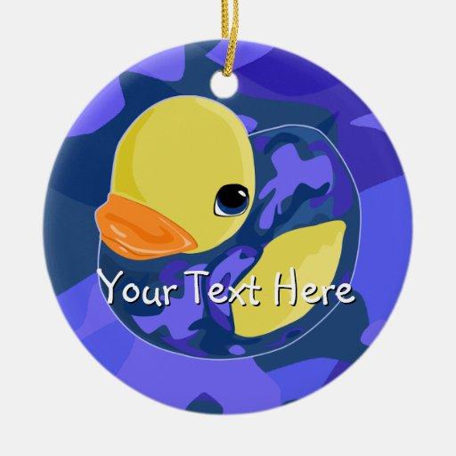 Blue Camo Rubber Ducky Christmas Tree Ornaments