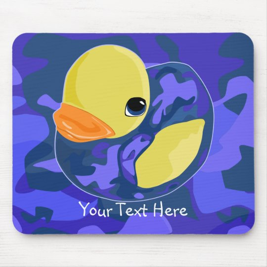 Blue Camo Rubber Ducky Mouse Pad