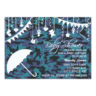 Blue Camo umbrella modern baby shower invitations