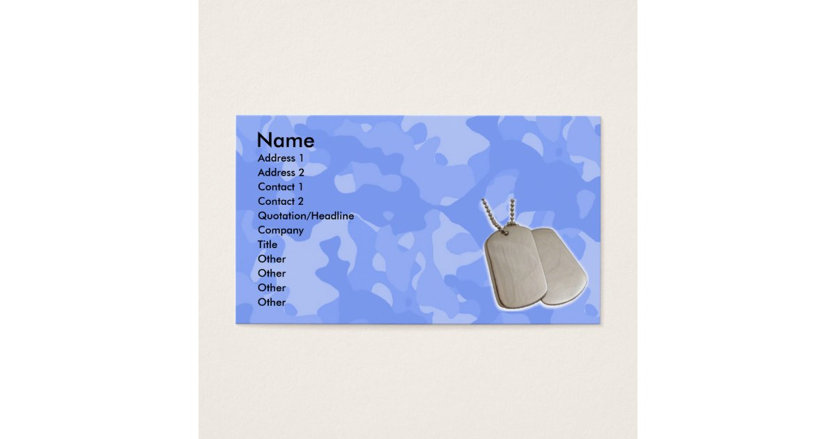 Blue Camo w/Dog Tags Business Card | Zazzle.com
