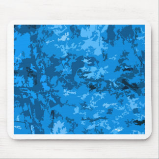 Blue Camouflage Abstract Pattern Design Mouse Pad