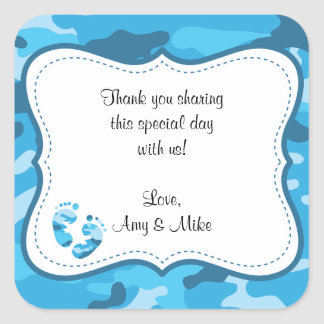Blue Camouflage Baby Shower Favor Label w/feet