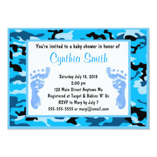 Blue camouflage Baby Shower Invitations