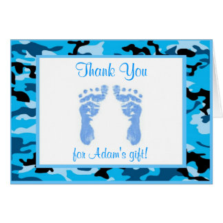 Blue Camouflage Baby Shower Thank You Cards