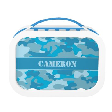 Beach Themed Blue Camouflage (Camo) | Personalized Lunch Box